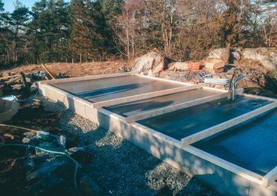 Attefallshus på betongplatta.